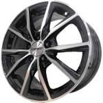 Carwel Alloy Wheel Gamma Black Polish, 15x6. 0 5x112 ET43 middle hole 66